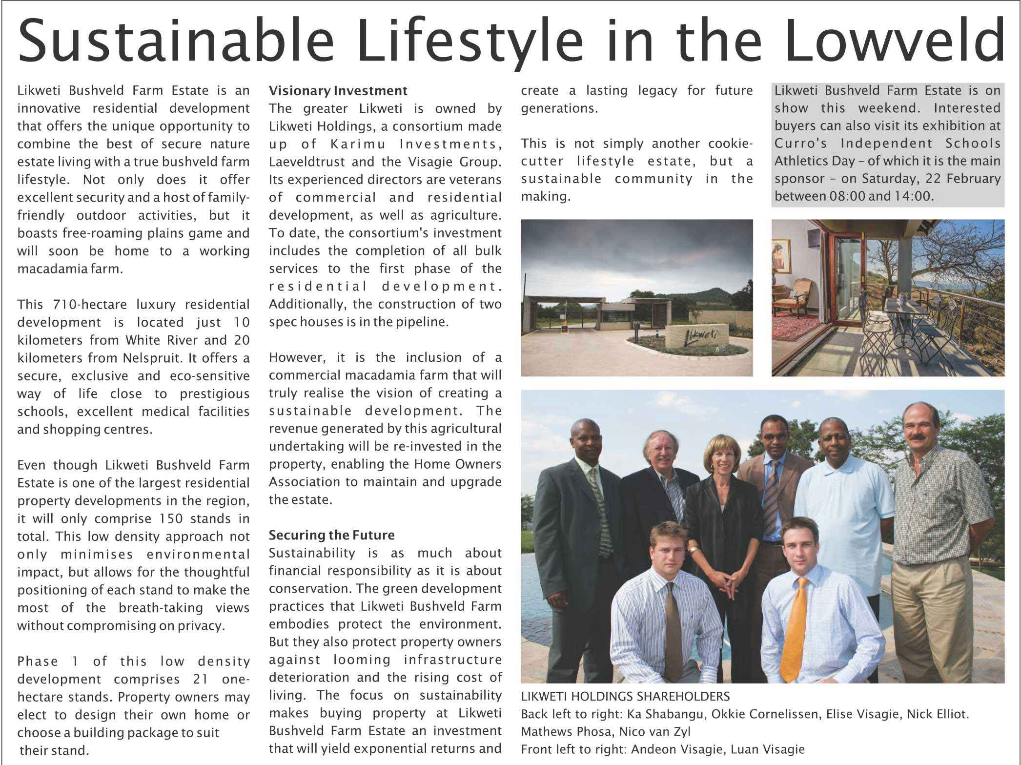 A Sustainable Lifestyle in the Lowveld