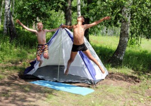 Kids jumping - tent